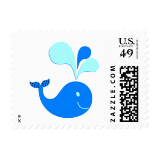307607 CUTE CARTOON BLUE WHALE GRAPHICS POSTAGE STAMPS