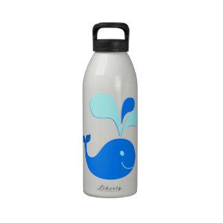 307607 CUTE CARTOON BLUE WHALE GRAPHICS WATER BOTTLES