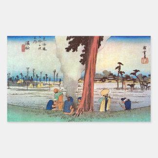30. 浜松宿, 広重 Hamamatsu-juku, Hiroshige, Ukiyo-e Pegatina Rectangular