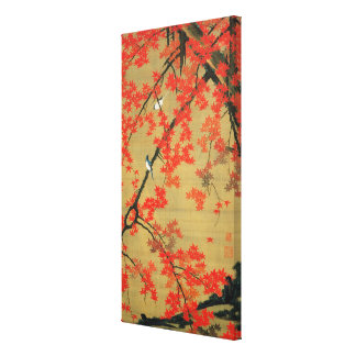 30. 紅葉小禽図, 若冲 Maple & Small Birds, Jakuchū Canvas Print