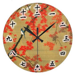 30. 紅葉小禽図, 若冲 Maple & Small Birds, Jakuchū Large Clock