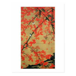 30. 紅葉小禽図, 若冲 Maple & Small Birds, Jakuchū Postcard