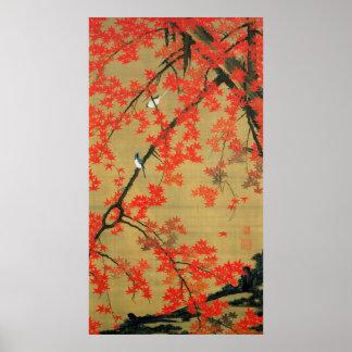 30. 紅葉小禽図, 若冲 Maple & Small Birds, Jakuchū Poster