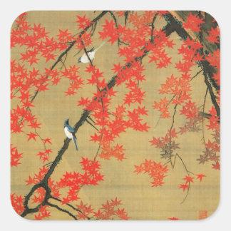 30. 紅葉小禽図, 若冲 Maple & Small Birds, Jakuchū Square Sticker