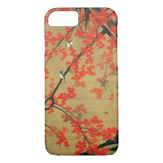 30. 紅葉小禽図, arce y pequeños pájaros, Jakuchū del 若冲 Funda iPhone 7