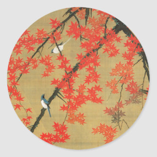 30. 紅葉小禽図, arce y pequeños pájaros, Jakuchū del 若冲 Pegatina Redonda