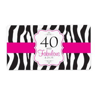 30/40/50/60 Fabulous Zebra Water Bottle Labels