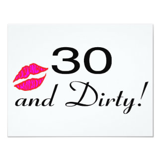 30 And Dirty Lips 4.25x5.5 Paper Invitation Card