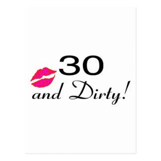 30 And Dirty Lips Postcard