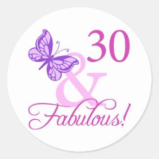 30 And Fabulous Birthday Gifts (Plum) Round Sticker