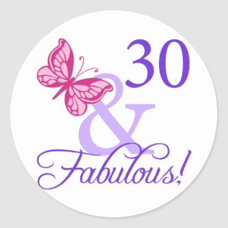 30 And Fabulous Birthday Round Stickers