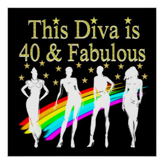 30 AND FABULOUS DAZZLING DIVA DESIGN POSTER
