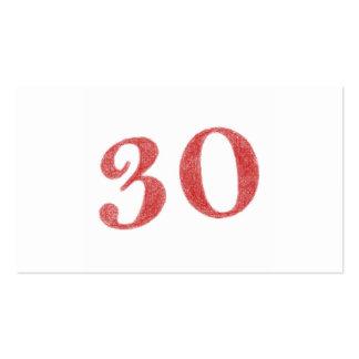 30 años de aniversario tarjetas de visita