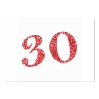30 años de aniversario tarjetas de visita grandes
