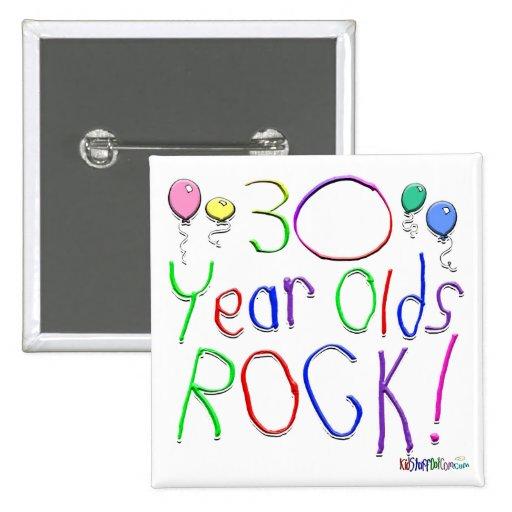 ¡30 años de la roca! pin cuadrado
