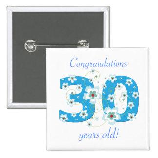 30 años del cumpleaños del botón de la enhorabuena pin cuadrado
