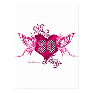 30 auto racing butterflies postcard