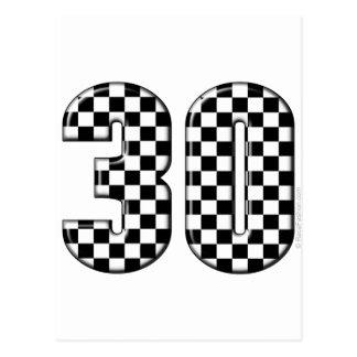 30 auto racing number postcard