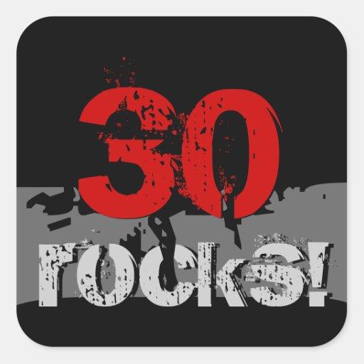 30 Birthday - 30 Rocks! Grunge Red and Black Stickers