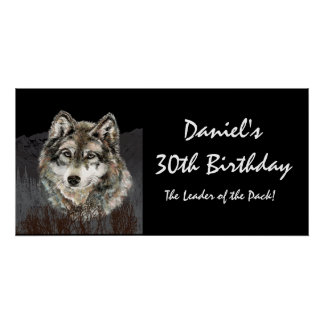 30 Birthday Banner Leader of the Pack Wolf Fun Poster