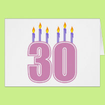 30 Birthday Candles (Pink / Purple) Card