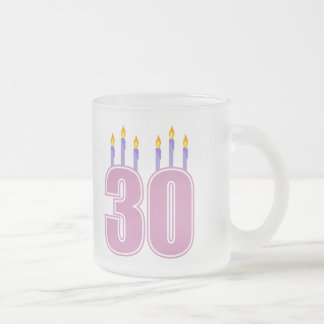 30 Birthday Candles (Pink / Purple) Frosted Glass Coffee Mug