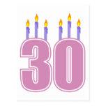 30 Birthday Candles (Pink / Purple) Postcard