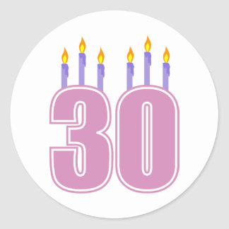 30 Birthday Candles (Pink / Purple) Classic Round Sticker