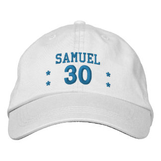 30 Birthday Custom Name BLUE Embroidery V62A Embroidered Baseball Hat