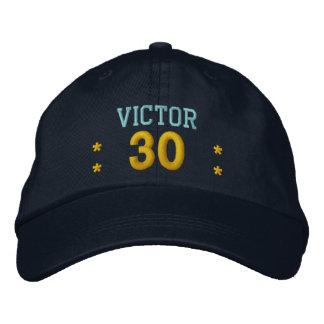 30 Birthday Custom Name BLUE GOLD Embroidery V62B Embroidered Baseball Hat