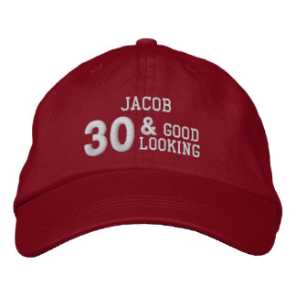 30 Birthday Good Looking RED and WHITE W30E Embroidered Baseball Cap