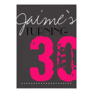 30 Birthday Party Invitation Neon and grey