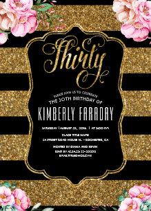 30th birthday invitations zazzle 30 birthday party invitations floral gold glitte filmwisefo
