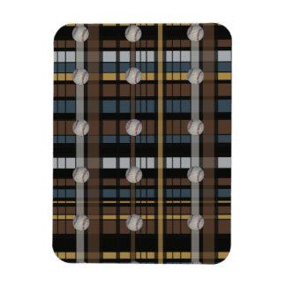 30. Brown Black Gray Plaid Baseball Design Rectangular Photo Magnet