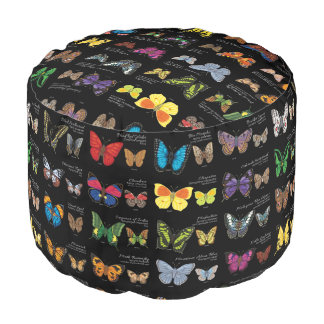 30 Butterfly Species from Around the World (Dark) Pouf