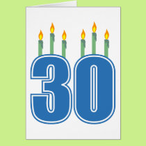 30 Candles (Blue / Green) Card
