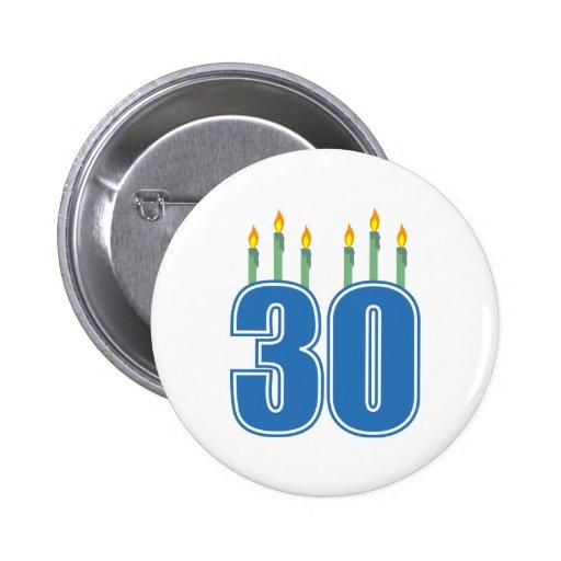 30 Candles (Blue / Green) Pinback Button