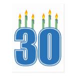 30 Candles (Blue / Green) Postcard