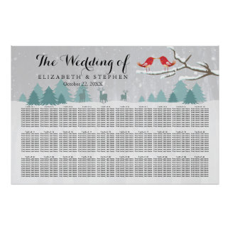 30+ Carta del asiento del boda del invierno del Póster