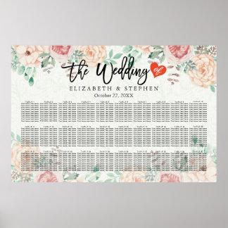 30+ Carta floral del asiento del boda de la Póster