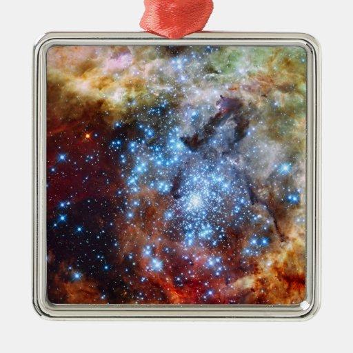 30 Doradus Nebula Star Clusters Square Metal Christmas Ornament