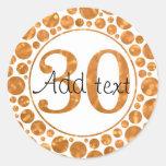 30 en el oro - trigésimos pegatinas de la fiesta pegatinas redondas