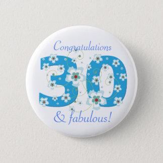 30 & fabulous birthday congratulations button