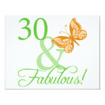 30 & Fabulous Birthday Gifts 4.25x5.5 Paper Invitation Card