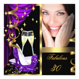 30 Fabulous & Fantastic Purple Champagne Party 3 Card