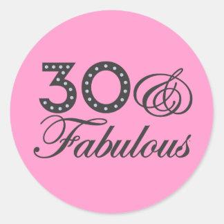 30 & Fabulous Gift Classic Round Sticker