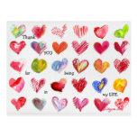 30 gracias postal de los corazones de la tarjeta