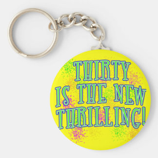 30 is the New Thrilling Products Basic Round Button Keychain