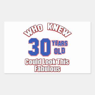 30 look fabulous rectangular stickers