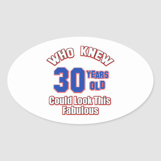 30 look fabulous oval stickers